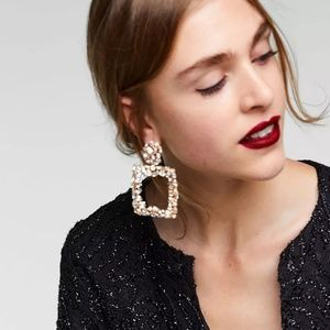 Long Square Crystal Statement Earrings